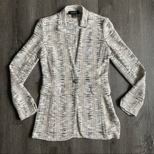 (EUC) ST. JOHN Tweed Metallic Pink Black Blazer 2